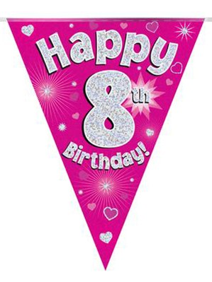 Pink Happy 8th Birthday Holographic Flag Banner