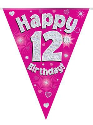 Pink Happy 12th Birthday Holographic Flag Banner