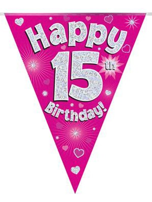 Pink Happy 15th Birthday Holographic Flag Banner