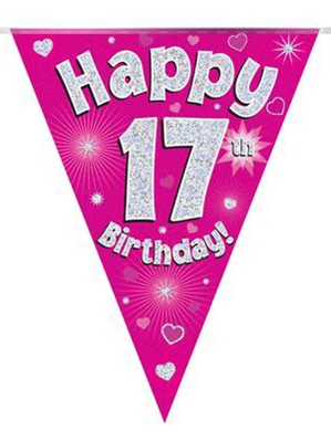 Pink Happy 17th Birthday Holographic Flag Banner