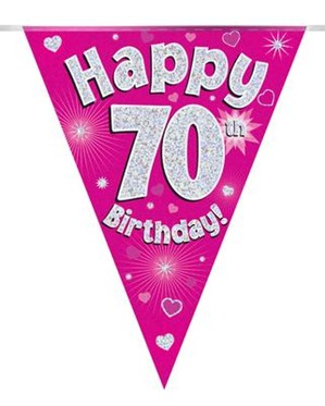 Pink Happy 70th Birthday Holographic Flag Banner