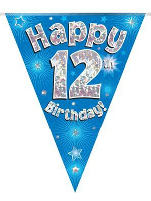 Blue Happy 12th Birthday Holographic Flag Banner