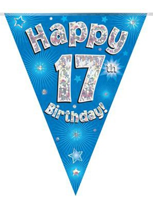 Blue Happy 17th Birthday Holographic Flag Banner