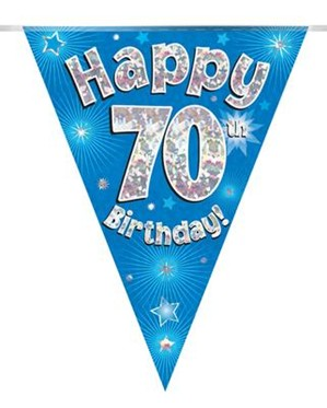 Blue Happy 70th Birthday Holographic Flag Banner