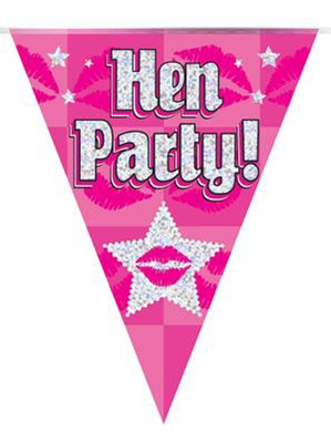 Pink Hen Party Holographic Flag Banner