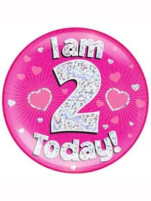 Pink 2nd Birthday Holographic Jumbo Badge