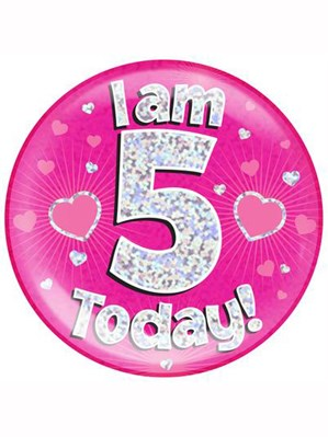 Pink 5th Birthday Holographic Jumbo Badge