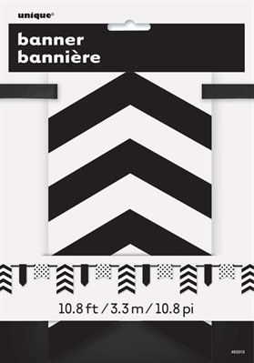 Black Dots & Stripes Flag Banner