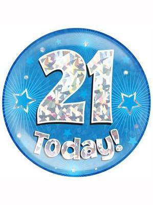 Blue 21st Birthday Holographic Jumbo Badge