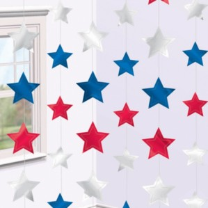 Red, Silver & Blue Star String Decorations 6pk