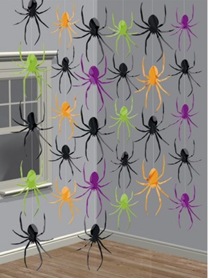 Halloween Spider Hanging String Decorations 6pk