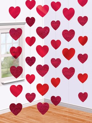 Valentine's Love Heart Foil String Decoration
