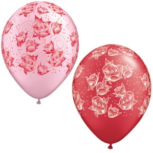 """11"""" Ruby Red and Pastel Pink Balloons - 100pk"""