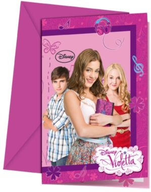 6 Violetta Party Invitations and Envelopes