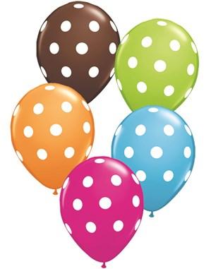 "11"" Assorted Big Polka Dots Latex Balloons 50pk"