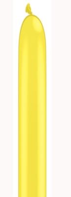 "160Q (1"" x 60"") Yellow Latex Modelling Balloons 100pk"