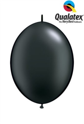 "6"" Pearl Onyx Black Quick Link Latex Balloons - 50pk"
