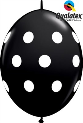 "12"" Black Big Polka Dots Quick Link Latex Balloons - 50pk"