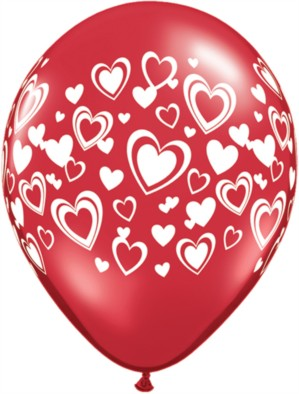 """11"""" Valentine Red Latex Balloons With Love Hearts - 25pk"""