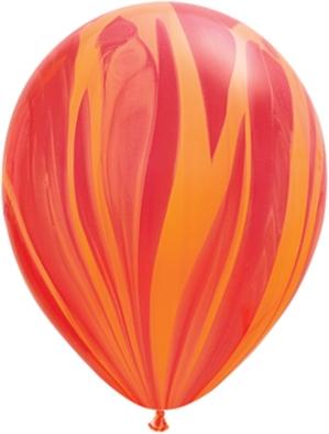 "11"" Red Orange Rainbow SuperAgate Latex Balloons 25pk"
