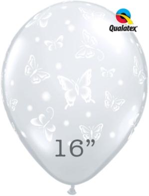 """Diamond Clear Butterflies 16"""" Latex Balloons 50pk"""