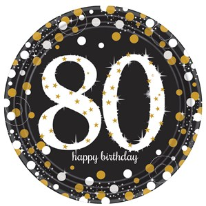 Gold Celebration 80th Birthday Paper Plates 8pk