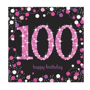 100th Birthday Pink Celebration Lunch Napkins 16pk