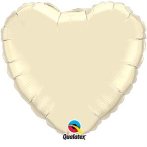 "Pearl Ivory 18"" Heart Foil Balloon"