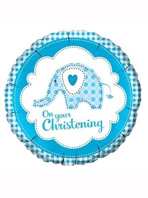 "Blue Elephant On Your Christening 18"" Foil Balloon"