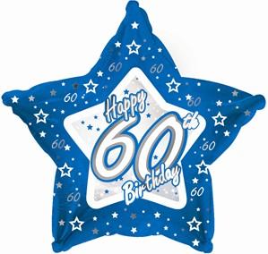 "60th Birthday Blue Star 18"" Foil Balloon"