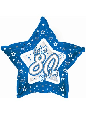 "18"" 80th Birthday Blue Star Foil Balloon"