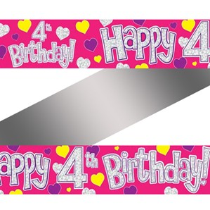 Pink 4th Birthday Foil Banner