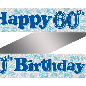 Blue Happy 60th Birthday Foil Banner