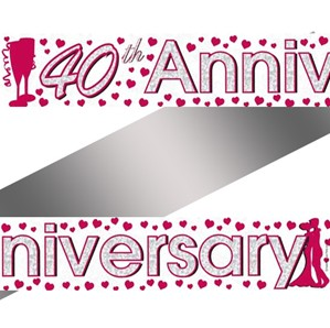Ruby Red 40th Anniversary Foil Banner