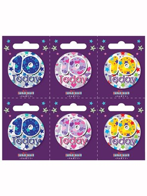 Small 10th Birthday Badges 6pk