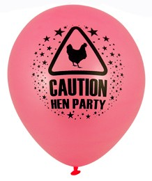 Pink 'Caution! Hen Party' Latex Balloons 12pk