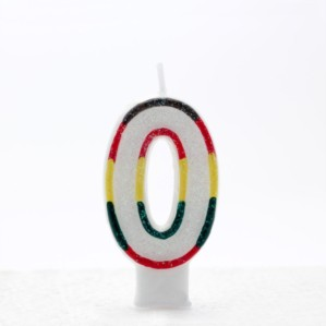 Multicoloured Striped Glitter Number 0 Candle