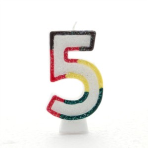 Multicoloured Striped Glitter Number 5 Candle