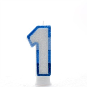 Blue Striped Glitter Number 1 Candle