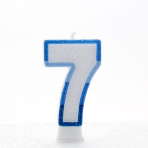 Blue Striped Glitter Number 7 Candle