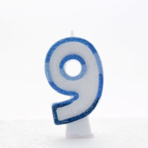 Blue Striped Glitter Number 9 Candle