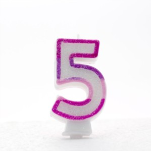 Pink and Purple Striped Glitter Number 5 Candle