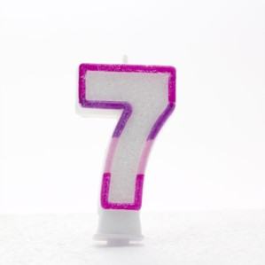 Pink and Purple Striped Glitter Number 7 Candle