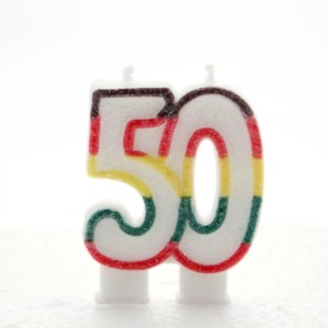 Multicoloured Striped Glitter Number 50 Candle