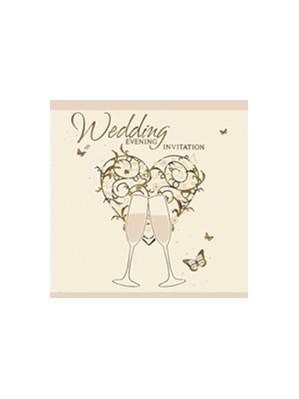 Vintage Gold Wedding Evening Invitations & Envelopes 6pk