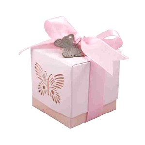 Pink Laser Cut Butterfly Favour Boxes 5pk