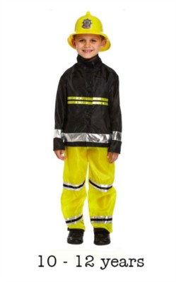 Child Fireman Fancy Dress Costume 10 - 12 yrs