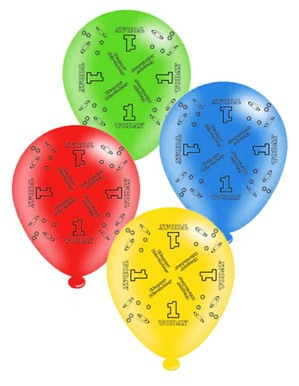 "Age 1 Assorted 10"" Latex Balloons 8pk"