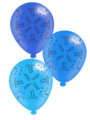 "Blue Age 1 Assorted 10"" Latex Balloons 8pk"