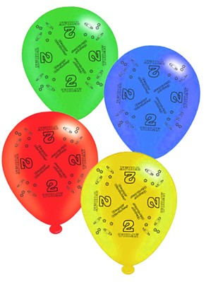 "Age 2 Assorted 10"" Latex Balloons 8pk"